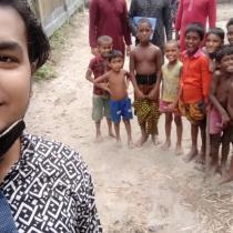 Volunteer A J Salim: Children gathering.